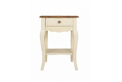 "Тумба прикроватная c 1 ящиком, Малая,""Florence"" (40х35х60 см), NIGHTSTAND 1 DRAWER, SMALL,  цвет: Молочный+Итал.орех"