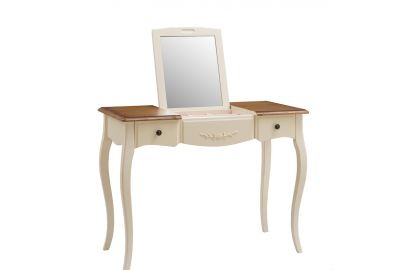 "MK-5032-AWB. Столик туалетный с зеркалом ""Florence"" (100х49х77 см), DRESSING TABLE WITH MIRROW, цвет: Молочный+Итал.орех"
